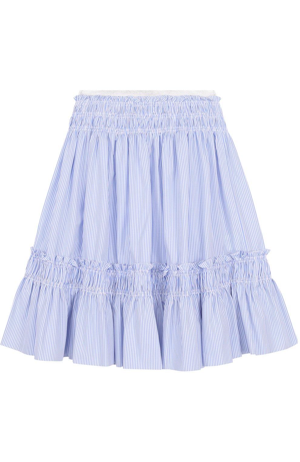 Хлопковая юбка-миди свободного кроя в полоску   Фото №1