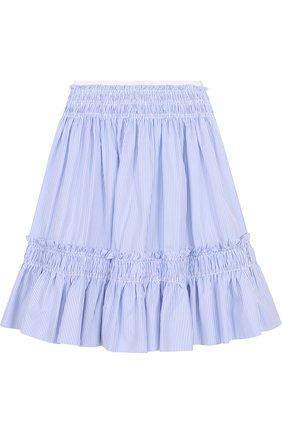 Хлопковая юбка-миди свободного кроя в полоску   Фото №2