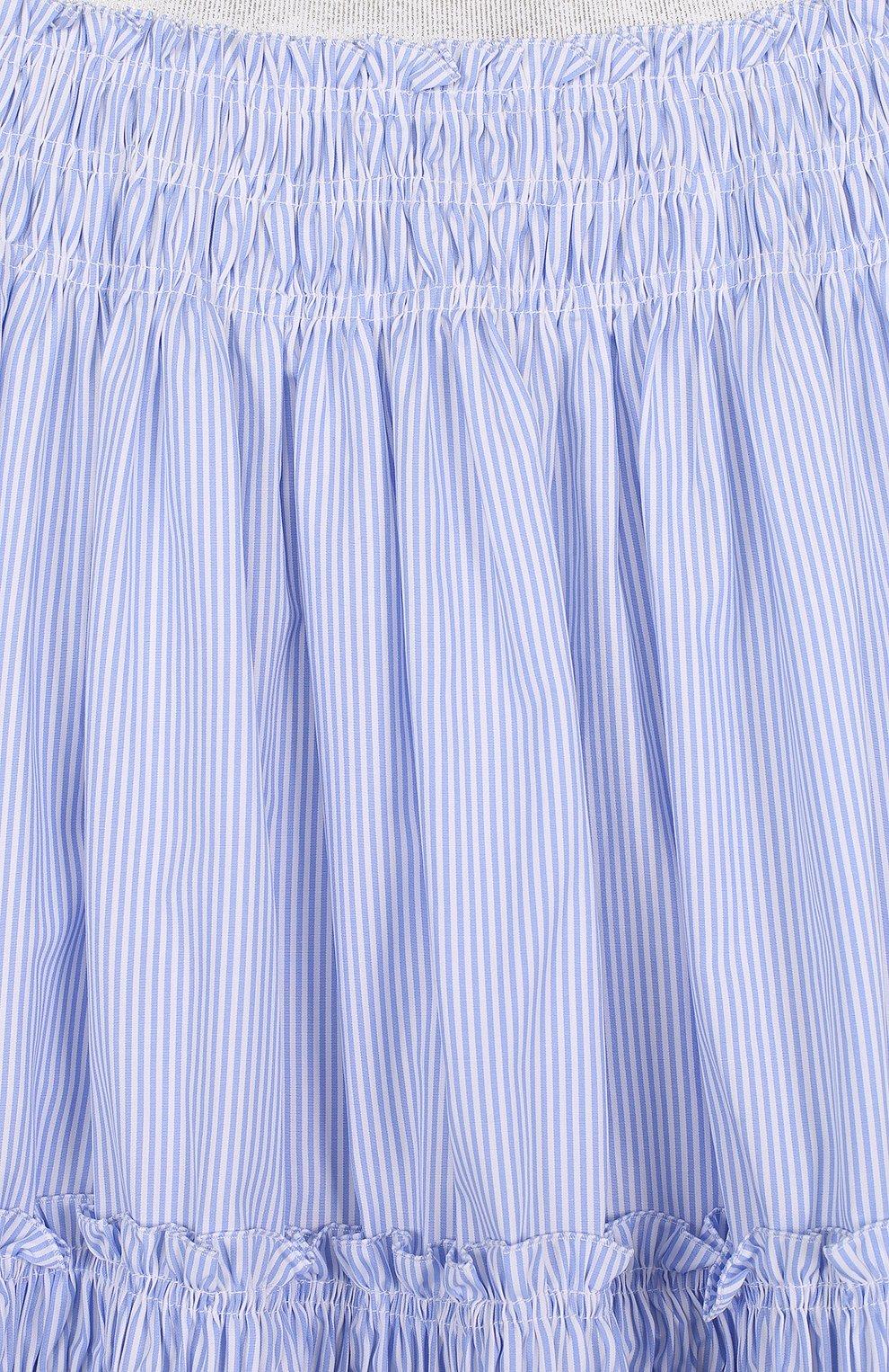 Хлопковая юбка-миди свободного кроя в полоску   Фото №3