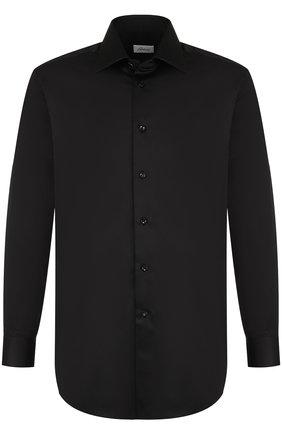 Мужская хлопковая сорочка с воротником кент BRIONI черного цвета, арт. RCL81I/PZ043 | Фото 1