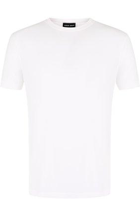 Мужская футболка из вискозы с круглым вырезом GIORGIO ARMANI белого цвета, арт. 3ZST62/SJP4Z | Фото 1