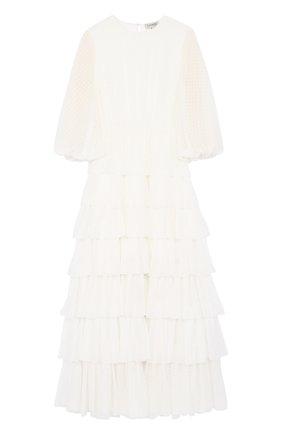 Многоярусное платье-макси с укороченным рукавом A La Russe белое | Фото №1