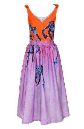 Приталенное хлопковое платье-миди с принтом | Фото №1