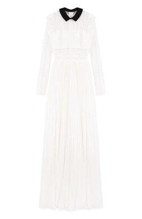 Платье-макси с плиссированной юбкой и кружевным лифом | Фото №1
