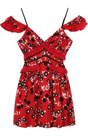 Приталенное мини-платье с оборками и открытыми плечами | Фото №1