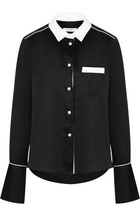 Шелковая блуза свободного кроя с контрастной отделкой | Фото №1