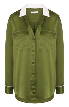 Женская шелковая блуза свободного кроя с контрастной отделкой Equipment, цвет зеленый, арт. 17-5-L21-E883D в ЦУМ | Фото №1
