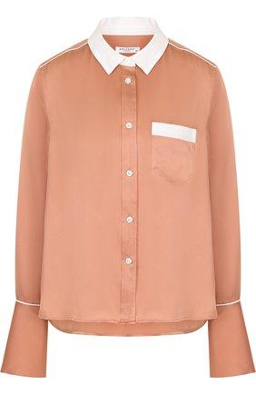 Женская шелковая блуза свободного кроя с контрастной отделкой Equipment, цвет черный, арт. 17-5-L21-E1003A в ЦУМ | Фото №1