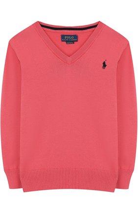 Хлопковый пуловер с V-образным вырезом | Фото №1