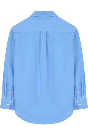 Детская хлопковая рубашка с воротником button down POLO RALPH LAUREN голубого цвета, арт. 321683872 | Фото 2 (Статус проверки: Проверена категория; Рукава: Длинные; Материал внешний: Хлопок; Принт: Без принта; Случай: Повседневный)