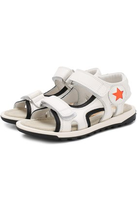 Кожаные сандалии с застежками велькро | Фото №1