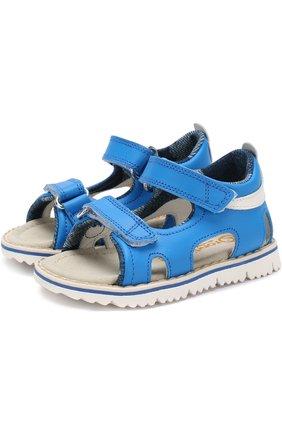 Детские кожаные сандалии с застежками велькро Rondinella голубого цвета | Фото №1
