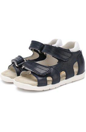 Детские кожаные сандалии с застежками велькро Rondinella синего цвета | Фото №1