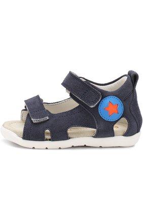 Детские замшевые сандалии с застежками велькро Rondinella синего цвета | Фото №1