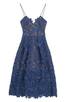 Однотонное кружевное платье-миди | Фото №1