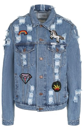 Джинсовая куртка свободного кроя с потертостями | Фото №1