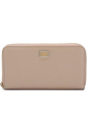 Женские кожаный кошелек на молнии с логотипом бренда DOLCE & GABBANA светло-бежевого цвета, арт. BI0473/A1001 | Фото 1
