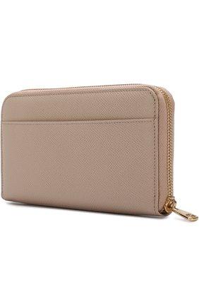 Женские кожаный кошелек на молнии с логотипом бренда DOLCE & GABBANA светло-бежевого цвета, арт. BI0473/A1001 | Фото 2