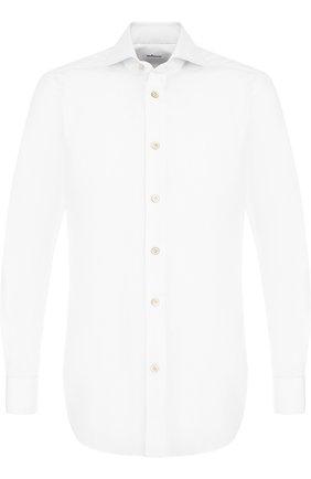 Мужская хлопковая сорочка с воротником акула KITON белого цвета, арт. UCIH000420100A | Фото 1
