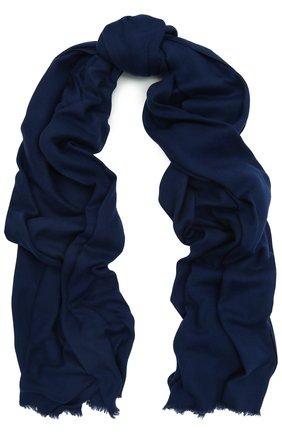 Мужской шарф unique из шерсти викуньи LORO PIANA синего цвета, арт. FAF0705 | Фото 1