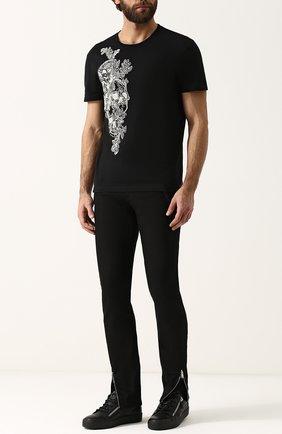 Мужские кожаные кеды frankie на шнуровке GIUSEPPE ZANOTTI DESIGN черного цвета, арт. RU70000/051 | Фото 2
