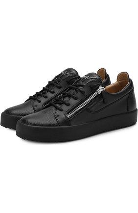 Кожаные кеды Frankie на шнуровке Giuseppe Zanotti Design черные | Фото №1