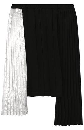 Юбка асимметричного кроя с плиссированными вставками | Фото №1