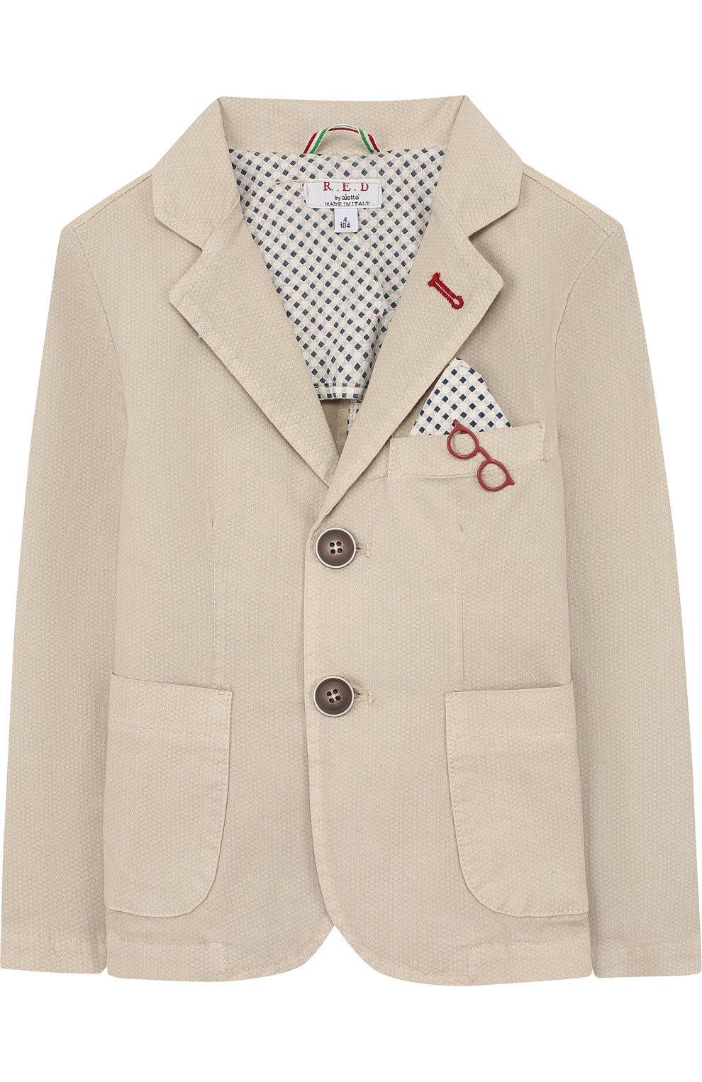 Однобортный пиджак из хлопка с платком и декором | Фото №1
