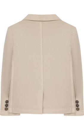 Однобортный пиджак из хлопка с платком и декором | Фото №2