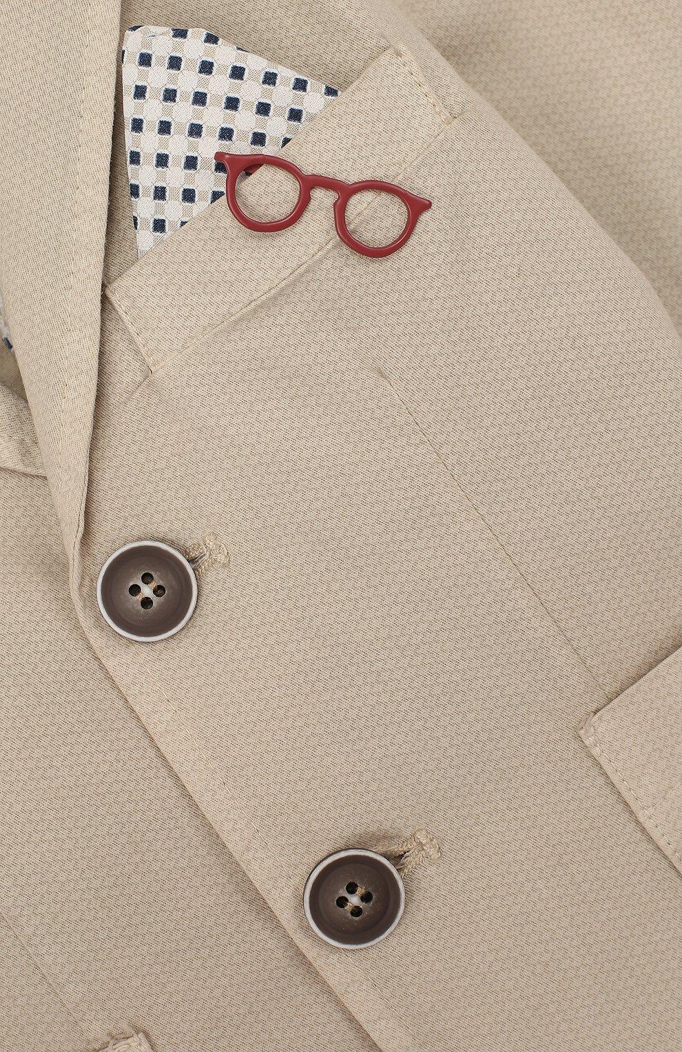 Однобортный пиджак из хлопка с платком и декором | Фото №3