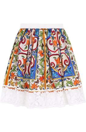 Хлопковая юбка с принтом и кружевной отделкой | Фото №2