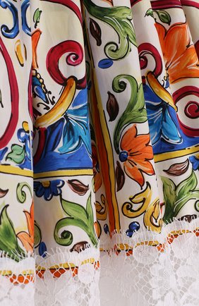 Хлопковая юбка с принтом и кружевной отделкой | Фото №3