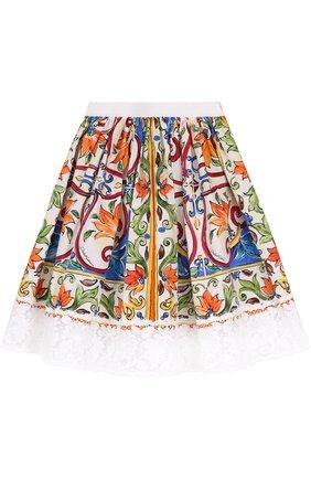 Хлопковая юбка с принтом и кружевной отделкой | Фото №1