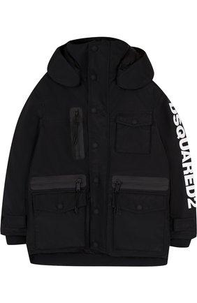 Куртка с капюшоном и накладными карманами | Фото №1