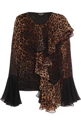 Шелковая блуза с оборками и леопардовым принтом | Фото №1