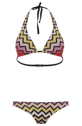 Раздельный купальник с треугольным бра и принтом Missoni разноцветный | Фото №1