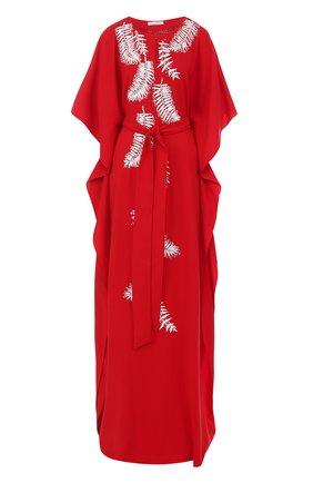 Шелковое платье-макси с контрастной вышивкой и поясом   Фото №1