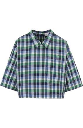 Женская блуза свободного кроя из смеси хлопка и шелка Thom Browne, цвет зеленый, арт. FTU224A-02951 450 в ЦУМ | Фото №1