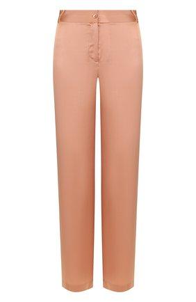 Шелковые брюки прямого кроя с контрастными лампасами Equipment розовые | Фото №1