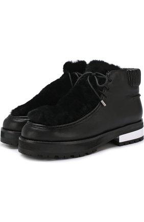 Кожаные ботинки с меховой отделкой Opening Ceremony черные | Фото №1