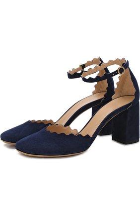 Замшевые туфли Lauren с ремешком на щиколотке | Фото №1