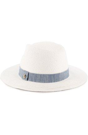 Соломенная пляжная шляпа Fedora с лентой Melissa Odabash голубого цвета | Фото №1