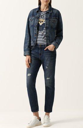 Укороченные джинсы прямого кроя с потертостями Current/Elliott синие   Фото №1