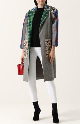 Шерстяное пальто с укороченными рукавами и накладными карманами Tata Naka разноцветного цвета | Фото №1