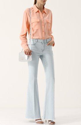 Женская шелковая блуза свободного кроя с накладными карманами Equipment, цвет белый, арт. Q23-E035 в ЦУМ | Фото №1