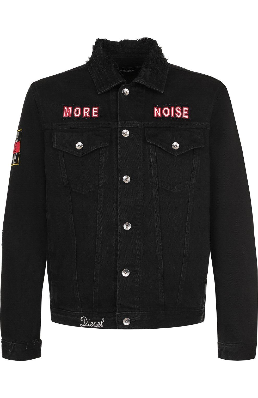 Джинсовая куртка с потертостями и контрастной отделкой | Фото №1