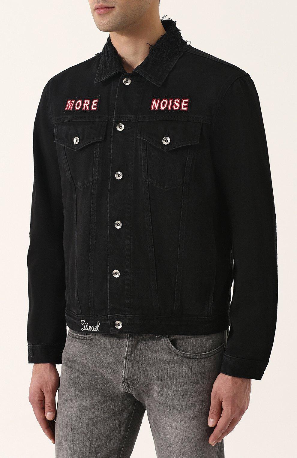 Джинсовая куртка с потертостями и контрастной отделкой Diesel черная | Фото №3