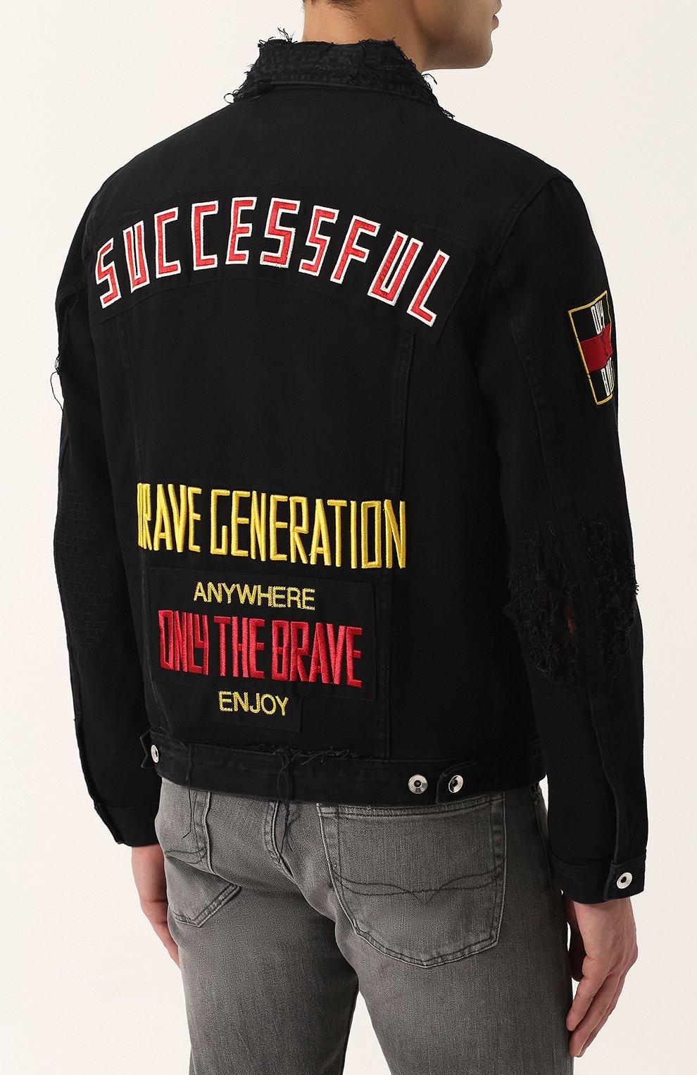 Джинсовая куртка с потертостями и контрастной отделкой Diesel черная | Фото №4