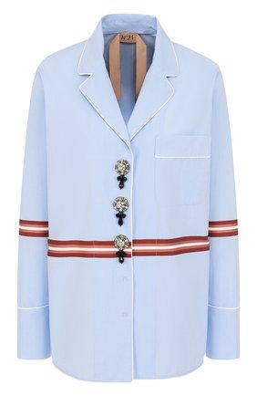 Хлопковая блуза в пижамном стиле с декорированными пуговицами | Фото №1