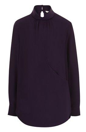 Шелковая блуза свободного кроя с воротником-стойкой | Фото №1